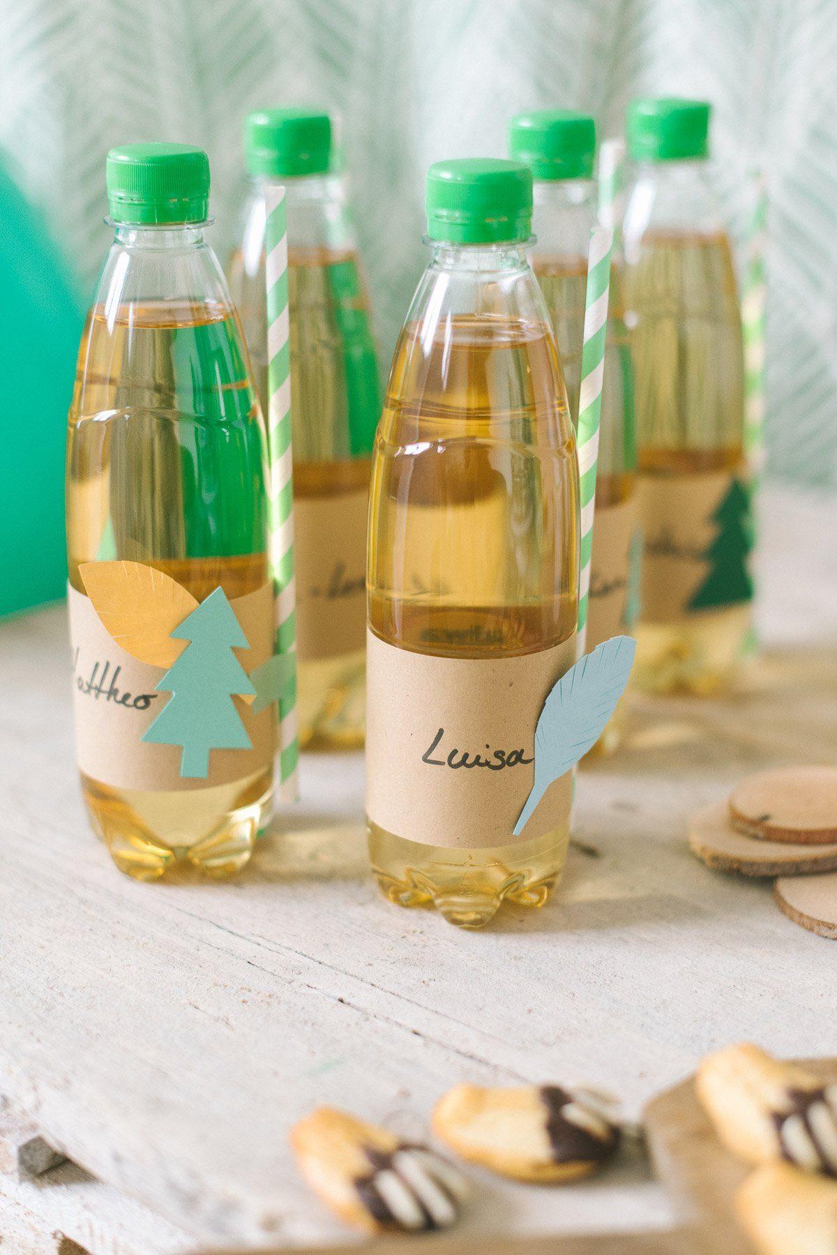 Trinkflaschen mit Namensbaderole für den Kindergeburtstag