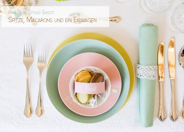 Wedding styled shoot with icecream, macarons and beautiful table setting