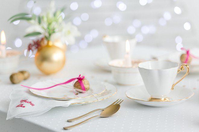 Weihnachten 2015 Dekoration gold lila pink