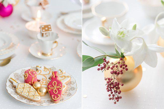 Weihnachten 2015 Dekoration gold lila pink2