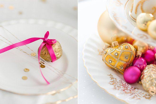 Weihnachten 2015 Dekoration gold lila pink4
