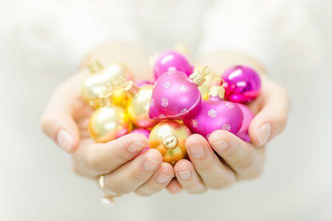 Weihnachten 2015 Dekoration gold lila pink5