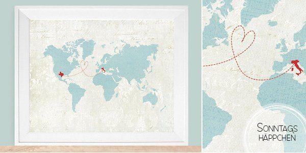 Weltkarte mit Herz für Brautpaare