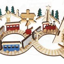 Adventskalender Holzeisenbahn mit 24 Figuren aus Holz