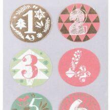 Sticker für den Adventskalender, Zahlen von 1-24 in roten und grünen Designs