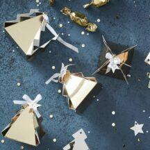 24 goldene Tannenbäumchen Boxen als Adventskalender