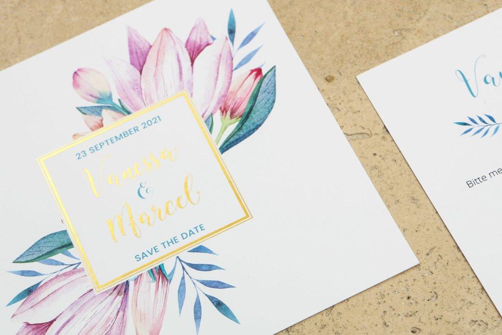Einladung Hochzeit Goldprägung Herzkarten