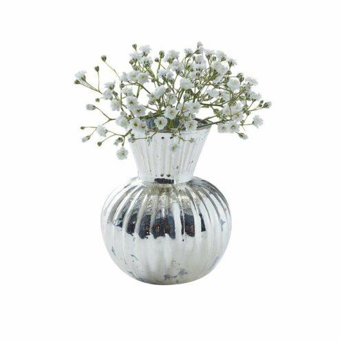 3 versilberte mini Blumenvasen gerillt