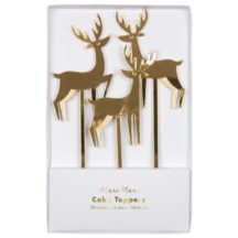 3 Cake Topper Winter Wonderland Rentiere Gold