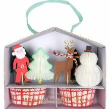 Cupcake Kit mit 24 Förmchen und Caketoppern, Designs Weihnachtsmann, Baum, Rentier, Schneemann