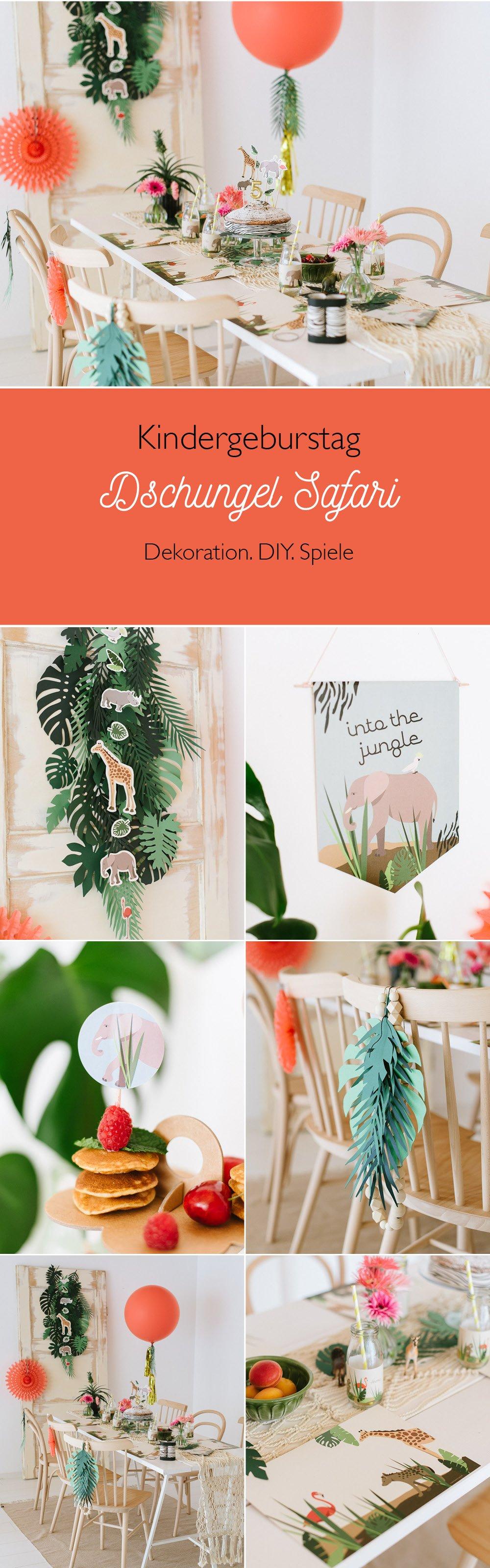 Dekoration für einen Kindergeburtstag mit Dschungel Safari Motto
