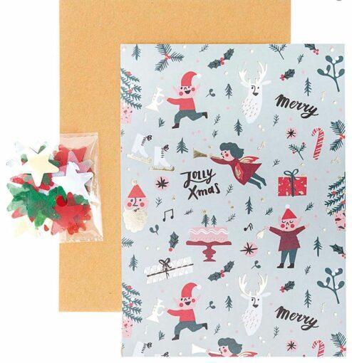 Diy Weihnachtskarte - Karte, Umschlag, Konfetti, Sticker