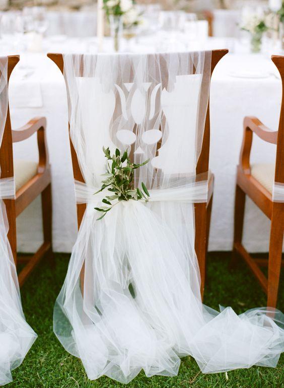 Schleier aus Tüll für die Stuhldemo der Braut