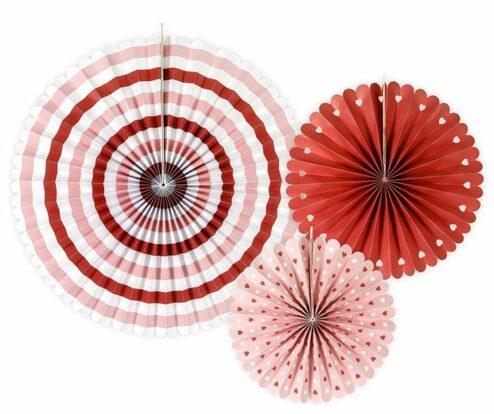 Faltrosetten Set mit drei Faltrosetten in rot, rosa, weiß variierend