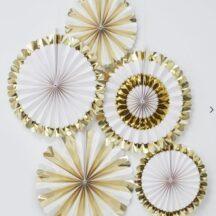 5 Faltrosetten mit weiß und gold