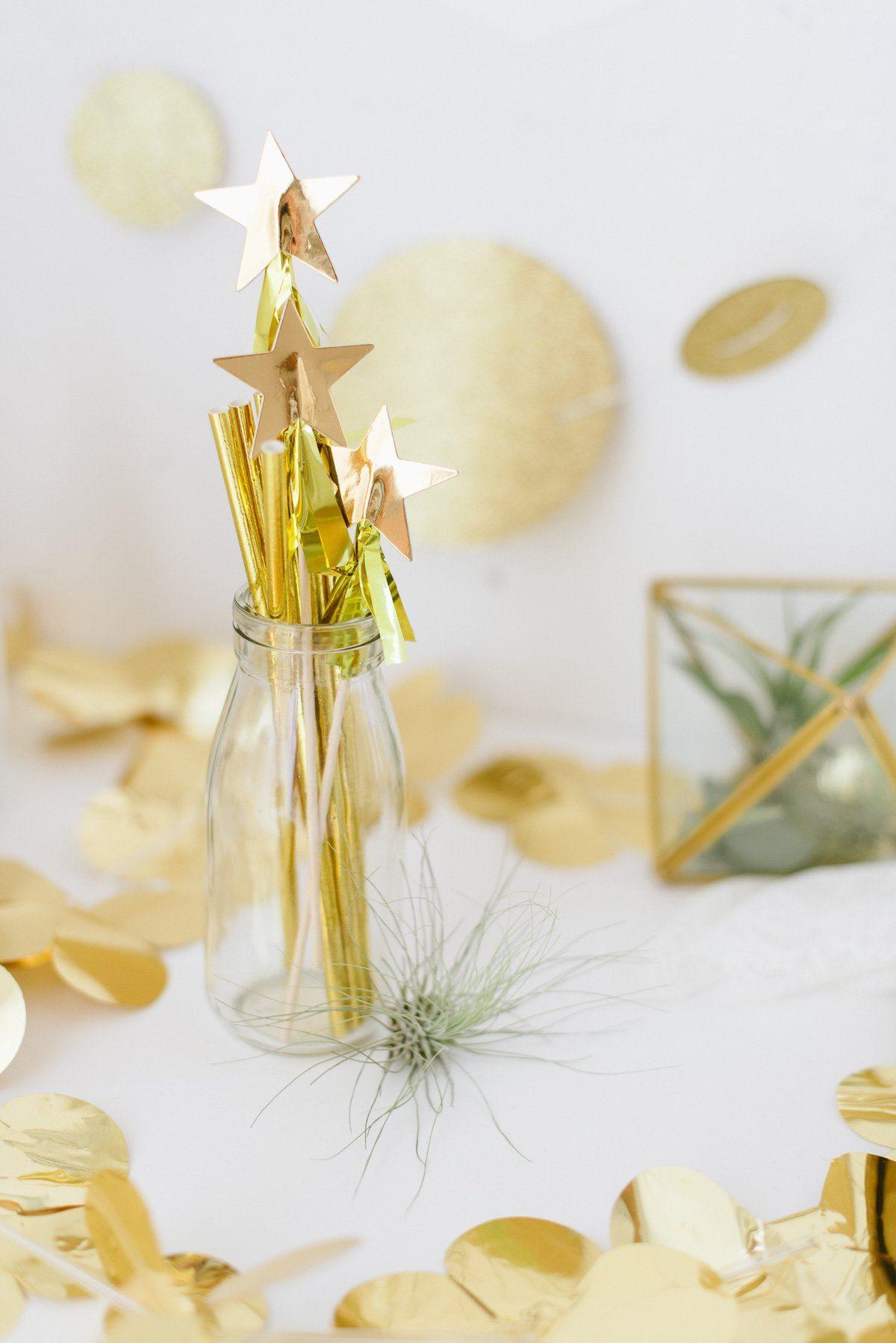 goldene Strohhalme