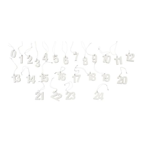 Zahlen Geschenkanhänger aus MDF in Silber, Höhe 3,5 cm