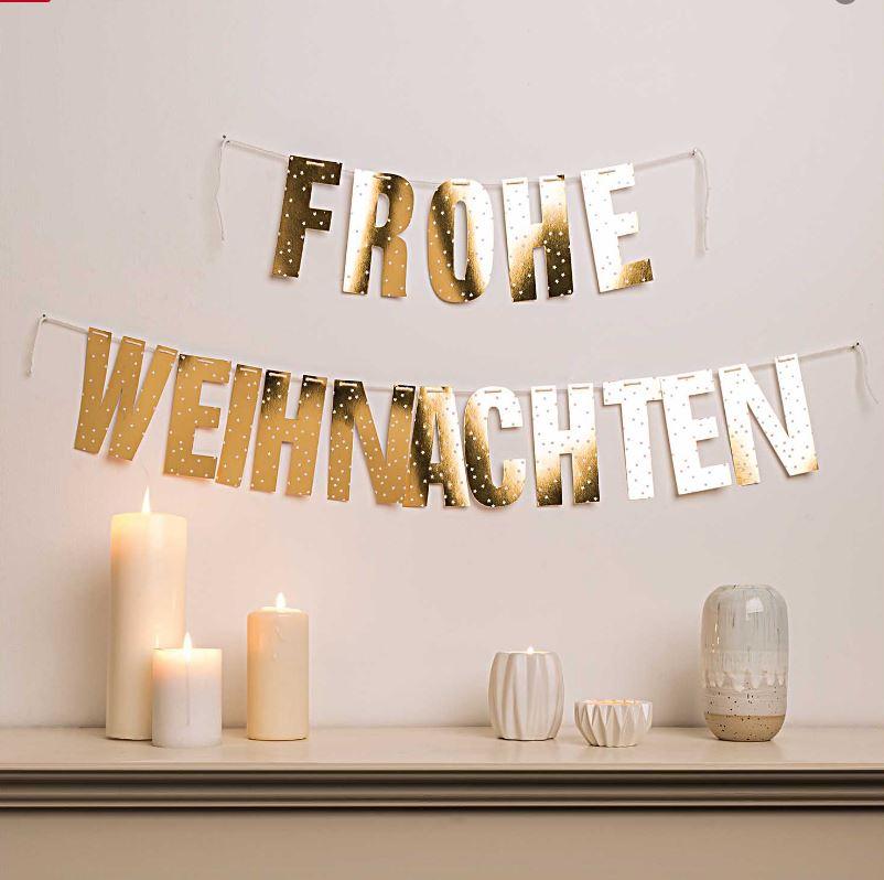 Girlande Frohe Weihnachten Gold - Fräulein K. Sagt Ja Partyshop