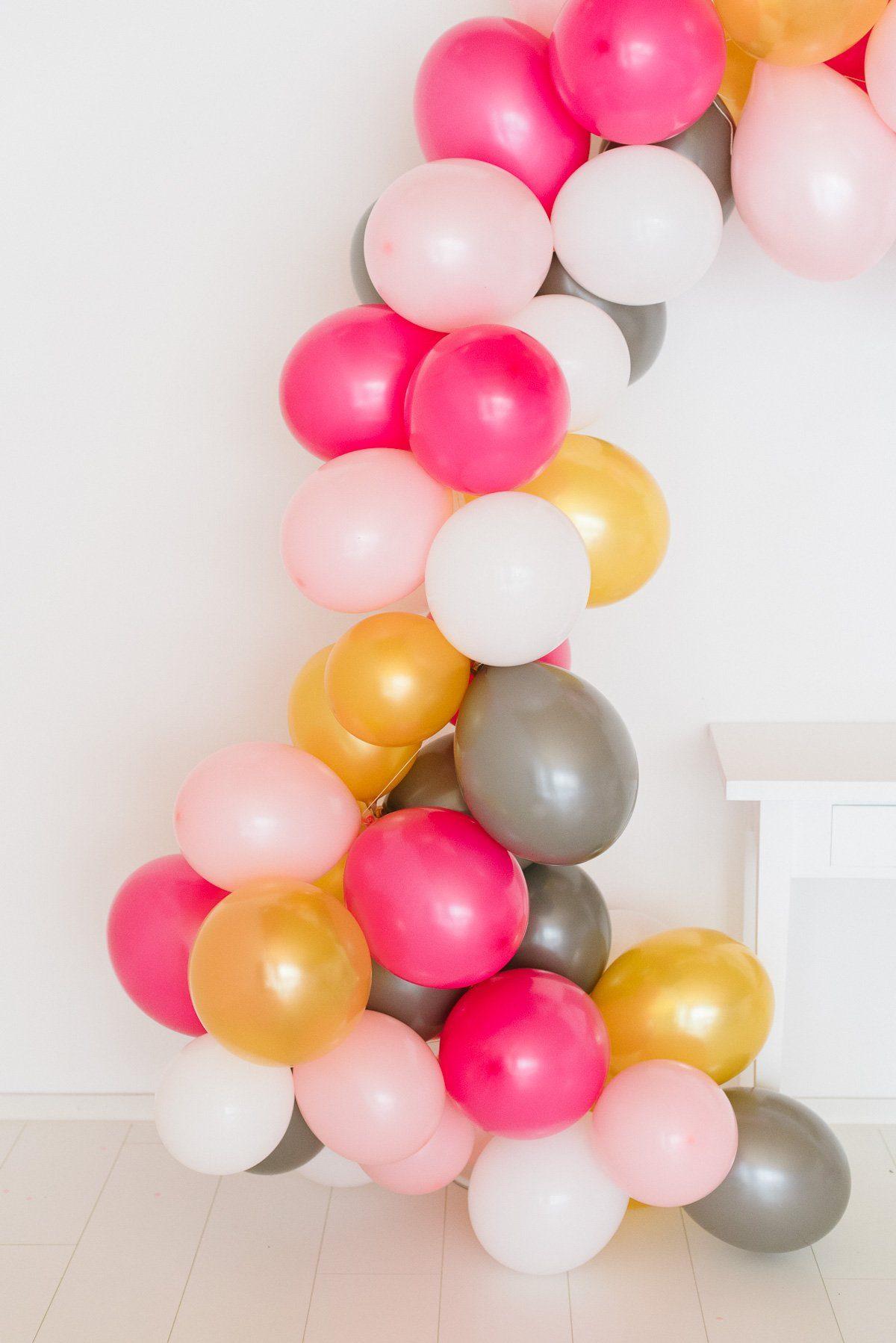 Luftballongirlande in weiß, pink, rosa grau