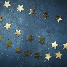 Girlande mit goldenen Sternen, Länge 5 Meter