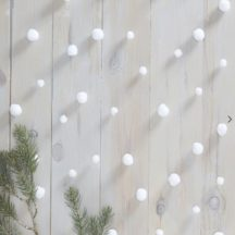 Girlande mit weißen Schneebällen, 6mal 2 Meter lange Stränge