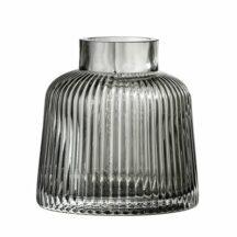 graue gerillte Vase, Höhe 9cm