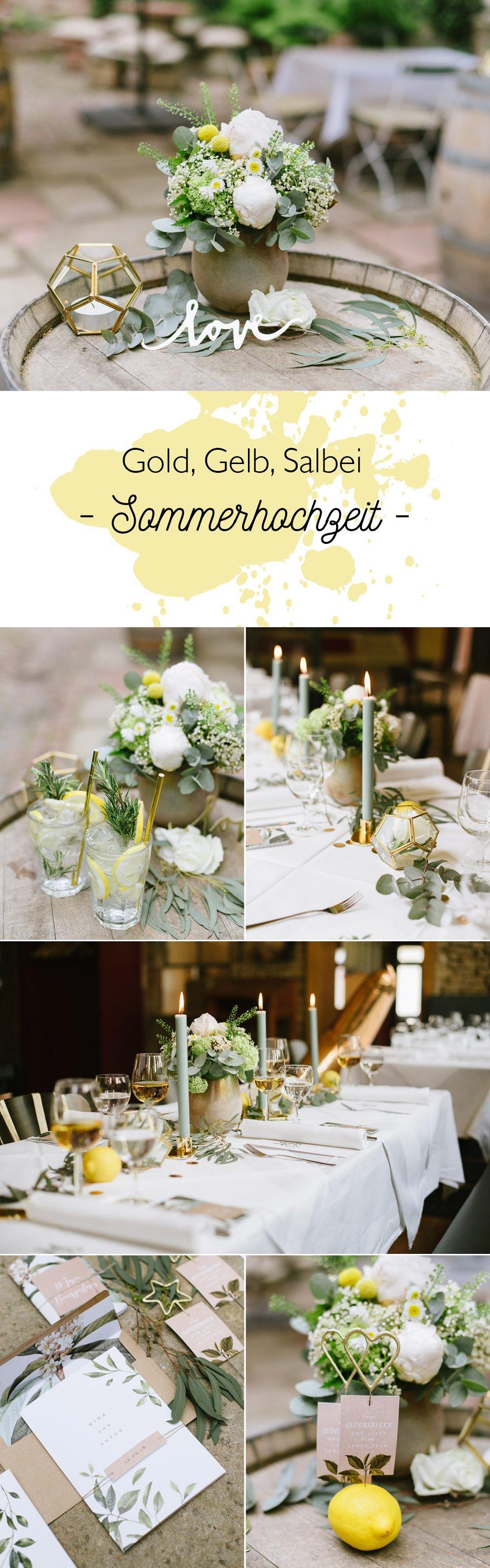 Dekoration Sommer Hochzeit in Gold, gelb und Eukalyptus
