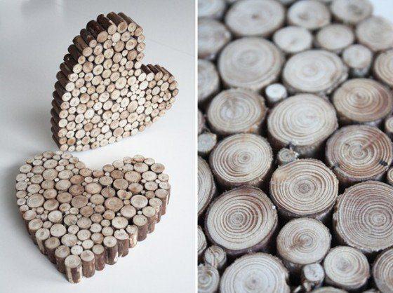 Sonntagshäppchen: Herzig aus Holzscheiben