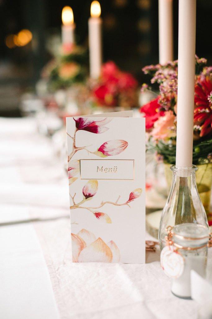 Menükarte Hochzeit rosegold