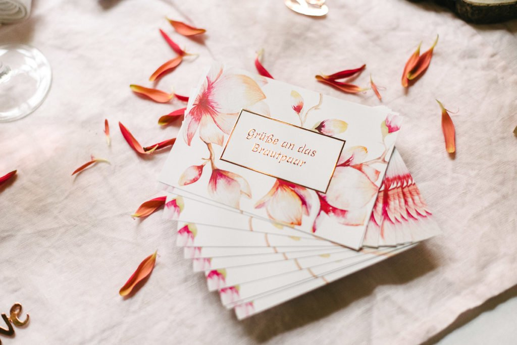 Hochzeitspapaeterie Grüße ans Brautpaar Magnolien