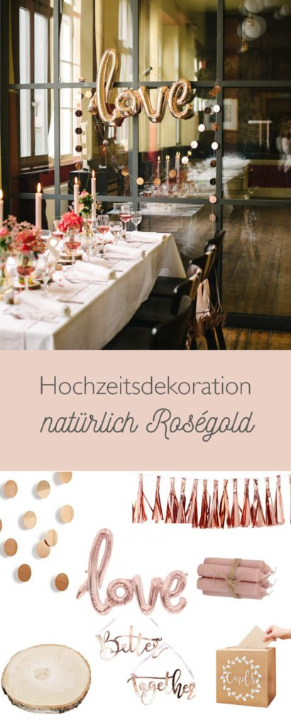 Hochzeitsdeko Holz und rosegold