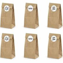Kraftpapier Beutel mit Aufklebern für kleine Geschenke (6 Stück)