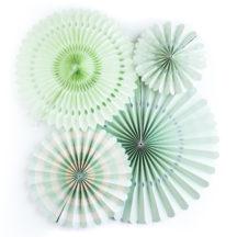 Faltrosetten Papierblumen Dekoration Mint
