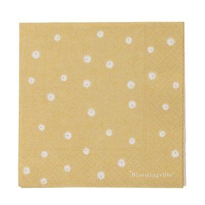 gelbe Papierserviette mit weißen Blümchen, 20 Stück