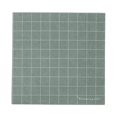 20 grüne Papierservietten mit weißen Gitterlinien