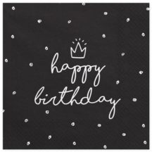 Papierserviette Happy Birthday schwarz