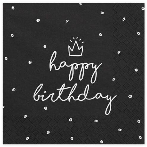 Papierserviette Happy Birthday schwarz