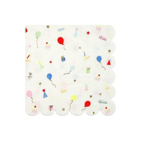 Papierserviette mit kleinen bunten Geburtstagsicons