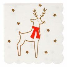 16 Papierservietten mit Rentier und goldenen Sternen bedruckt, 12,5 x 12,5cm