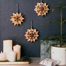 Bastelset für 3 kleine braune Sterne aus Papiertüten