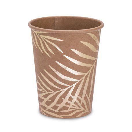 Pappbecher mit goldenem Palmenblatt Aufdruck