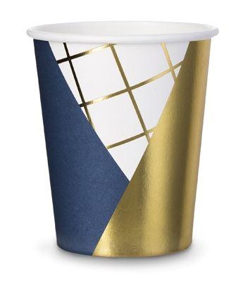 Pappbecher Mix dunkelblau, gold, weiß, 6 Stück, 260 ml