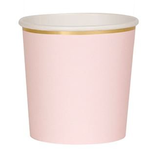 8 Pappbecher in Tumbler Form, rosa mit Goldrand, Inhalt 260ml