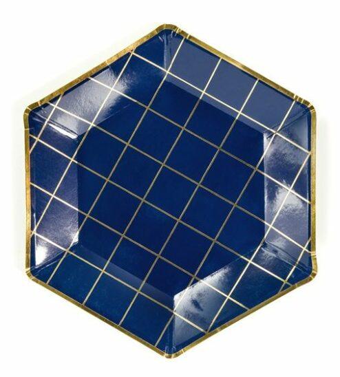 Pappteller dunkelblau mit goldenem Grid, 6 Stück