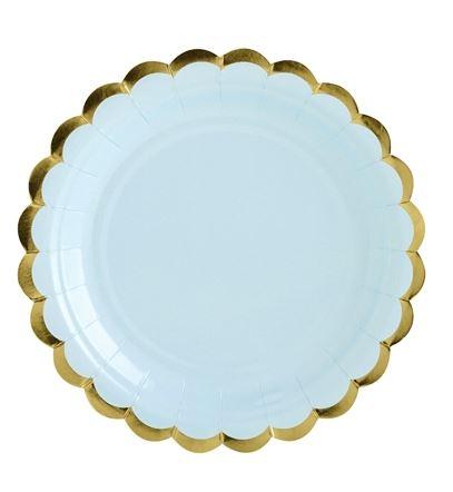 hellblauer Pappteller mit goldenem Muschelrand