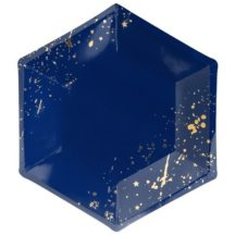 Pappteller Mix dunkelblau mit goldenen Sprenkeln, 6 Stück