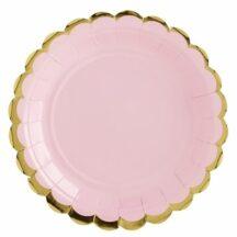 rosa Pappteller mit goldenem Muschelrand