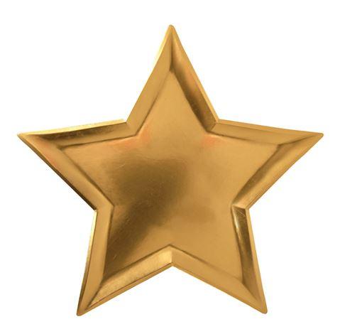 8 goldene Pappteller in Sternform