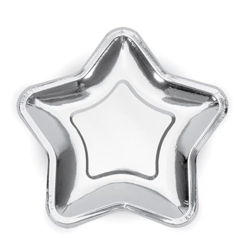 Pappteller in Sternform silbern schimmernd