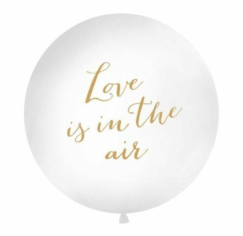 Riesenluftballon mit der goldenen Aufschrift 'Love is in the air', Größe 90 cm